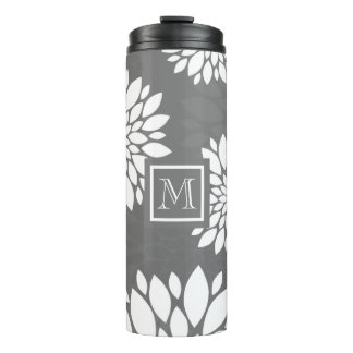 White Contemporary Flowers Personalize It Monogram Thermal Tumbler