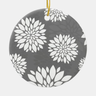 White Contemporary Flowers Round Ceramic Decoration