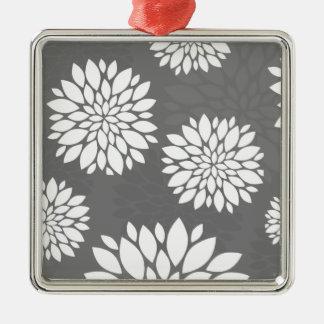 White Contemporary Flowers Silver-Colored Square Decoration