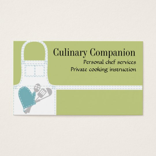 white cooking apron oven mitt utensils business... business card