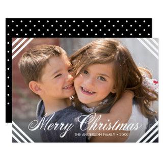 White Corner Borders Elegant Merry Christmas Photo Card