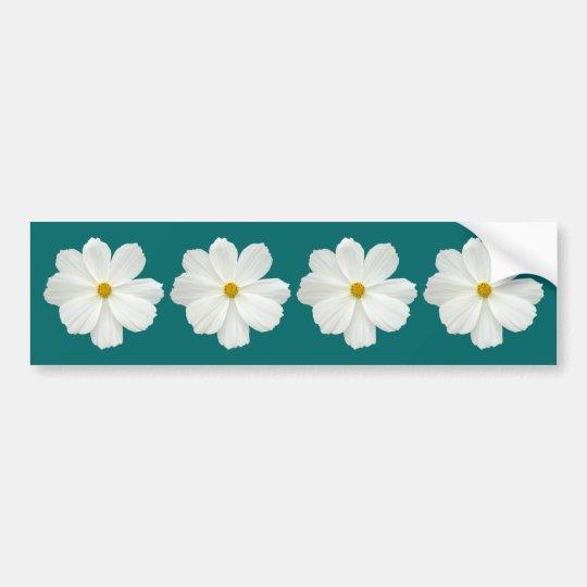 White Cosmos Flower Bumper Sticker