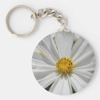 White Cosmos Flower Keychain
