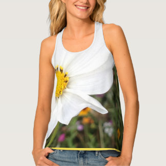 White Cosmos Flower Tank Top