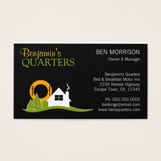 White Cottage Black Bed and Breakfast B&B Business Card