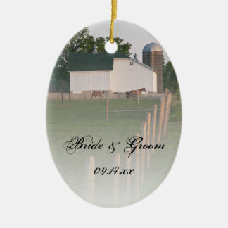 White Country Barn Wedding Ceramic Oval Decoration
