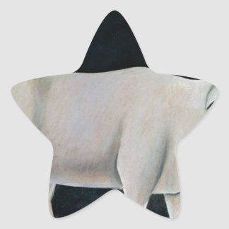 White cow on a black background by Niko Pirosmani Star Sticker