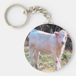 White Cow With Tagged Ears In A Wide Meadow Basic Round Button Key Ring