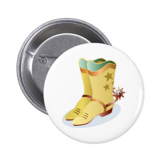 White Cowboy Boots with Riding Spurs 6 Cm Round Badge
