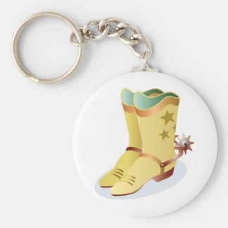 White Cowboy Boots with Riding Spurs Basic Round Button Key Ring