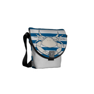 White Crab Blue and White Horizontal Stripe Bag Commuter Bags