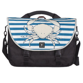 White Crab Blue and White Horizontal Stripe Bags For Laptop