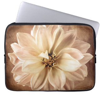 White, Cream, Brown Dahlia Background Customized Laptop Sleeve