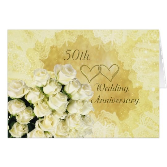 White - cream roses 50th Wedding Anniversary Card