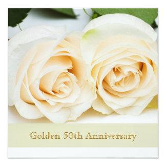 White cream roses, 50th Wedding Anniversary Personalized Invites