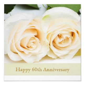 White cream roses, 60th Wedding Anniversary 13 Cm X 13 Cm Square Invitation Card