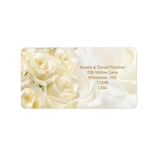White-cream roses Address Avery Label Address Label