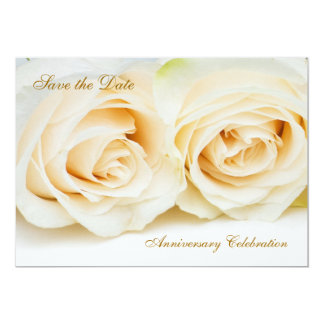 White - cream roses Anniversary Save the date 13 Cm X 18 Cm Invitation Card