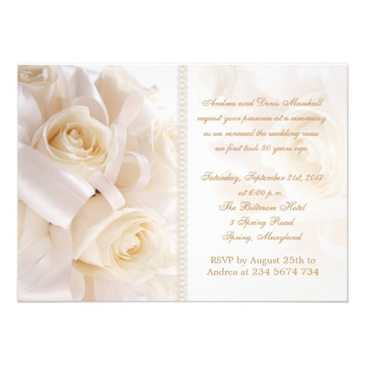 White cream roses marriage renewal ceremony personalized announcements
