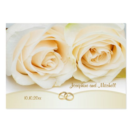 White cream roses Thank you Wedding/Gift Tag Business Card Templates