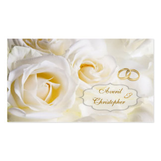 White cream Roses Wedding Gift/tag Business Card