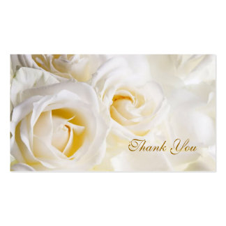 White cream Roses Wedding Thank you Business Card Template