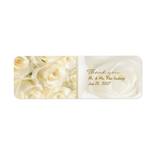 White - cream roses Wedding Thank you Label Return Address Label
