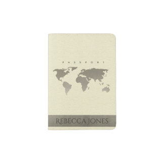 WHITE CREAM SILVER WORLD MAP LEATHER MONOGRAM PASSPORT HOLDER