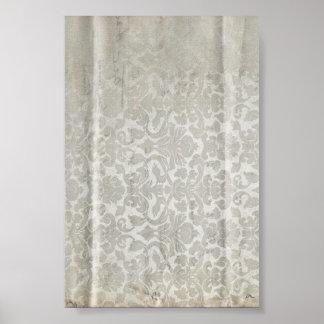 White Creased Damasks Pattern Print