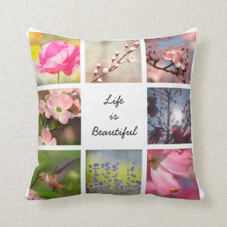 White Create Your Own Photo Collage Cushion