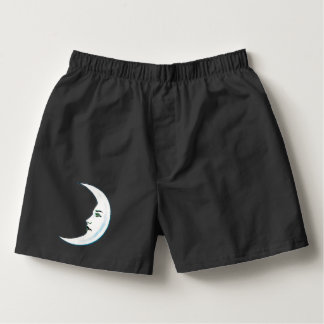 White Crescent Moon With Face Black Lips Boxers