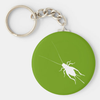 White Cricket Basic Round Button Key Ring