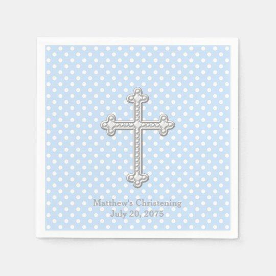 White Cross Blue Christening Paper Napkins