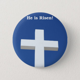 White Cross, Easter 6 Cm Round Badge
