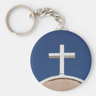 White Cross of Taos Basic Round Button Key Ring