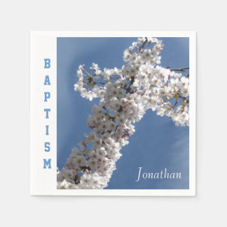 White Cross on Blue Sky Personalized Baptism Party Paper Serviettes