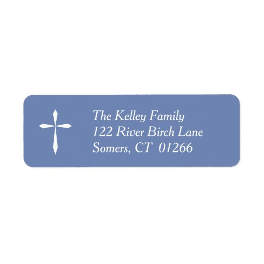 White Cross Religious Address Label, Blue Return Address Label