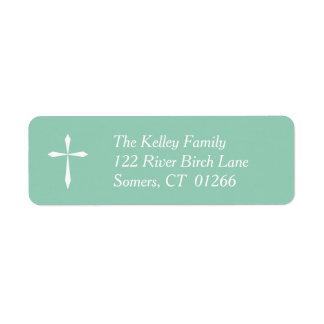 White Cross Religious Address Label, Mint