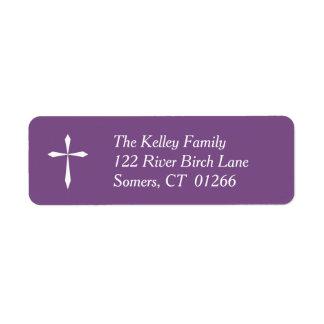 White Cross Religious Address Label, Purple
