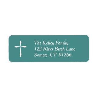 White Cross Religious Address Label, Teal