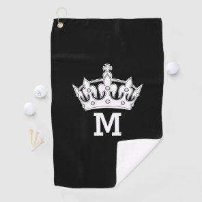 White Crown Monogram Personalised Golf Towel
