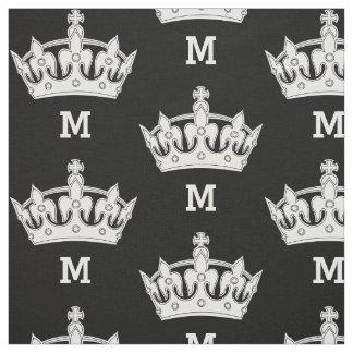 White Crown Monogram Personalized Fabric