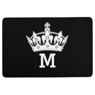 White Crown Monogram Personalized Floor Mat