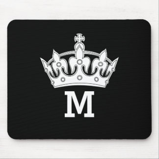 White Crown Monogram Personalized Mouse Mat