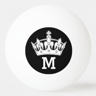 White Crown Monogram Personalized Ping Pong Ball