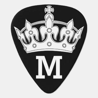 White Crown Monogram Personalized Plectrum