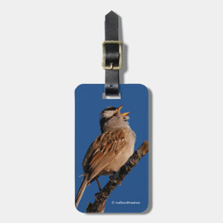 White-Crowned Sparrow Sings to the Sun Luggage Tag