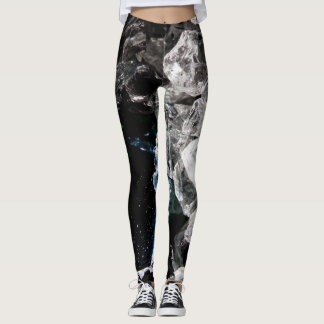 White Crystals in Black outer space Leggings