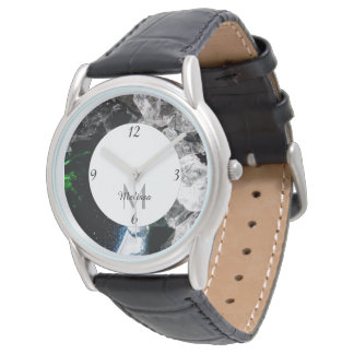 White Crystals in Black outer space Monogram Watch