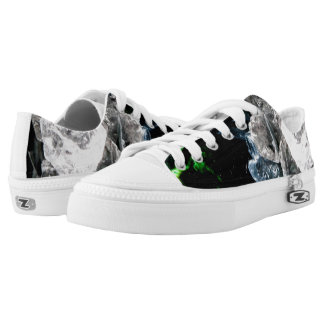 White Crystals in Black outer space Printed Shoes